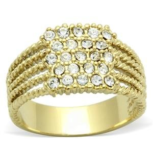 Gold Tone Twisted Right Hand Ring with Round Cut Clear Top Grade Crystals in Pave Setting