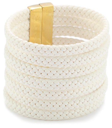 Accessories & Beyond White Braided Leather Strands Cuff