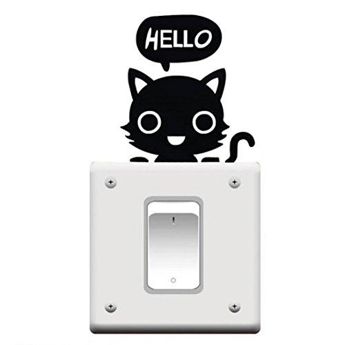eenkula Bonjour Cat Vinyle Stickers Muraux Commutateur Autocollant Mural Decal pour Chambre Salon