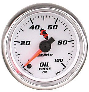"Auto Meter 7153 C2 2-1/16"" 0-100 PSI Full Sweep Electric Oil Pressure Gauge"