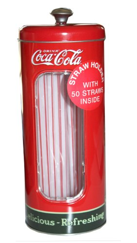 Coca-cola Tin Collectible Drinking Straw Holder Dispenser