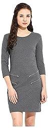 IRAM SHOPPING STORE Women's Regular Fit Dress (IR-DR00IRSS108, Grey, Small)