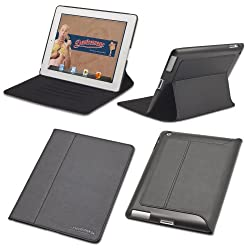 Slim iPad 2, iPad 3, or iPad 4 case: The Ridge by Devicewear - Black Vegan Leather New iPad Case with Six Position Flip Stand With On/Off Switch (Compatible with 2nd generation, 3rd generation, and 4th generation iPads)