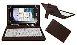 ACM PREMIUM USB KEYBOARD TABLET CASE HOLDER COVER FOR LENOVO IDEA PAD A3000 With Free MICRO USB OTG - BROWN