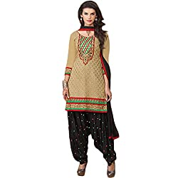 Latest Wize Stylish and Elegant Chanderi Cotton Patiala Style Embroidered Dress Material With Chiffon Dupatta
