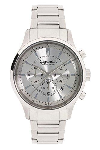 Gigandet Reloj de Hombre Cuarzo Brilliance Cronógrafo Analógico Correa de Acero Plata G48-005