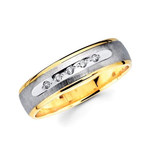 14K 2 Two Tone Gold Round Diamond Men's Engagement Wedding Band Ring (1/16 ctw., GH, SI) - Size 10.5