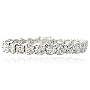 Central World DB Designs Silvertone 1/2 Ct TDW White Diamond S and Oval Link Bracelet (I-J,I2-I3)-Silvertone