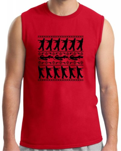Zombie Ugly Christmas Sweater Sleeveless T-Shirt Large Red