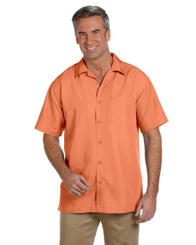 Harriton Men's Short Sleeve Barbados Textured Button Down Camp Shirt M560 orange XXX-Large