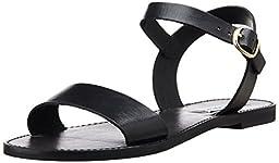Steve Madden Women\'s Donddi Dress Sandal, Black Leather, 6 M US
