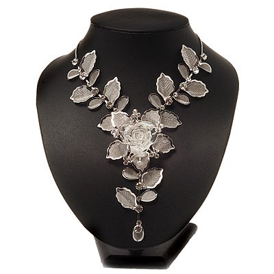 Stunning Y-Shape Mesh Silver Floral Necklace With Clear Swarovski Crystals - 34cm Length (7cm extension)