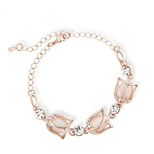 The Starry Night Lobster Clasp Beige Tulip Flowers Elegant Link Bracelet For Fashion Womens Girls Winter Accessories
