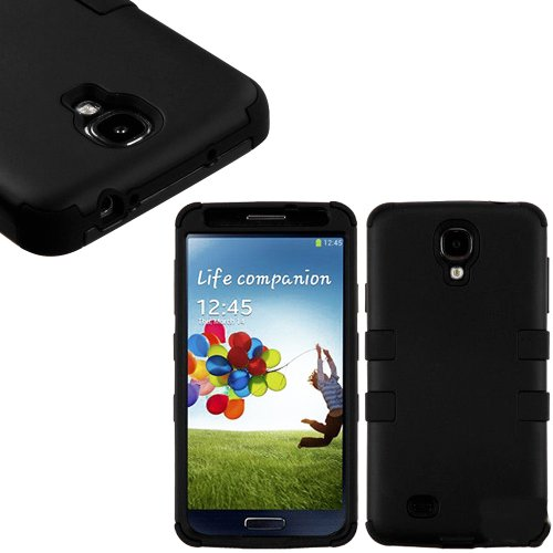 """Mylife (Tm) Black - Smooth Color Design (3 Piece Hybrid) Hard And Soft Case For The Samsung Galaxy S4 """"Fits Models: I9500, I9505, Sph-L720, Galaxy S Iv, Sgh-I337, Sch-I545, Sgh-M919, Sch-R970 And Galaxy S4 Lte-A Touch Phone"""" (Fitted Front And Back Solid C"""
