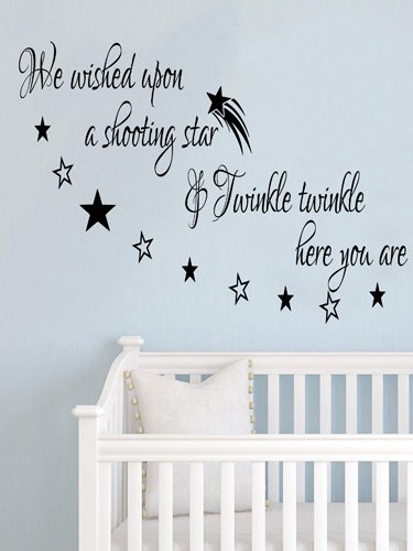 We Wished Upon Stars Baby Inspirational Wall Sticker Quote Vinyl Decal Transfer 100X55 (Black) front-467123