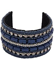 Voylla Blue-silver Beads Adorned Colorful Cuff Bracelet