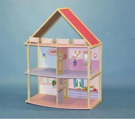 Großes Holz Puppenhaus mit 2 Etagen + Dach für Ankleidepuppen Mode Puppen Neu