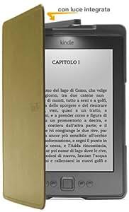 Custodia Amazon in pelle con luce per Kindle, colore: Verde (adatta solo per Kindle)