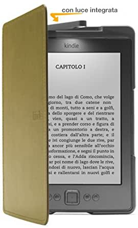 Custodia Amazon in pelle con luce per Kindle, colore: Verde (adatta solo per Kindle)