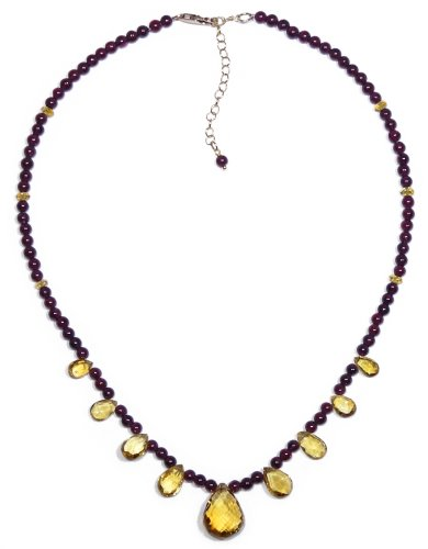 14k Gold Filled Beaded Garnet Necklace with Citrine Briolette, 16-18