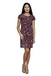 LEBE Women's Multi Coloured Round Neck Cotton Dress
