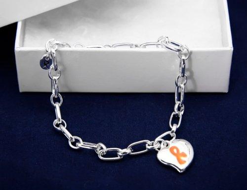 Orange Ribbon Bracelet-Silver Linked w/ Puffed Heart Charm (18 Bracelets)
