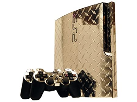 Sony PlayStation 3 Slim Skin (PS3 Slim) - NEW - SILVER DIAMOND PLATE MIRROR system skins faceplate decal mod