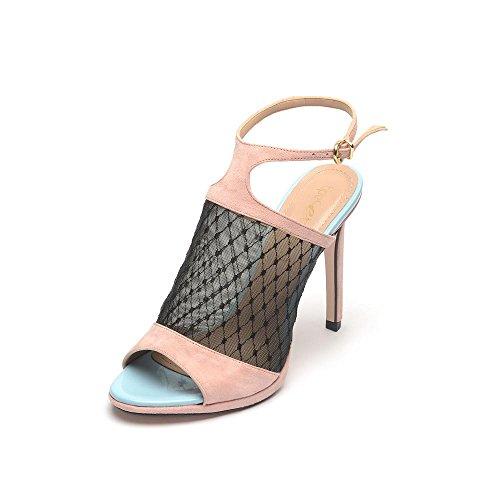 Tipe e Tacchi / sandali con tacco donna colore camoscio rosa/rete nera/vernice celeste