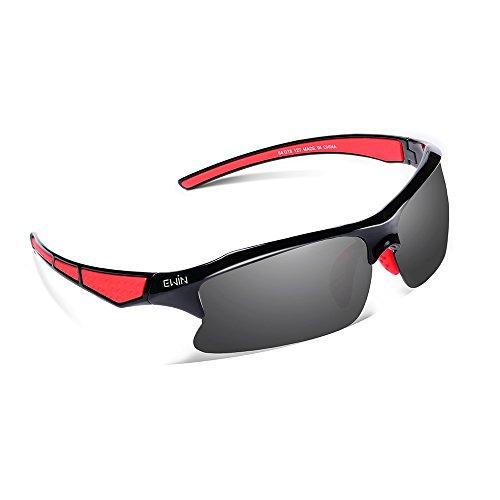 Ewin E20Polarized Occhiali da sole sportivi per uomini donne ciclismo guida Pesca Golf e altre attività all' aperto, donna Bambino ragazza Uomo Ragazzi, Black, Red, Standard