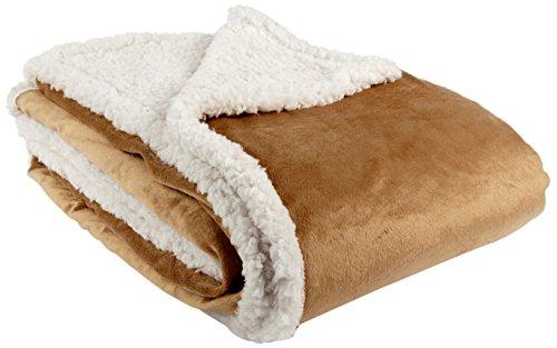 Goldmond Home 4001626016952 Plaid et couverture imitation fourrure d'agneau et vison Caramel/naturel 150 x 200cm