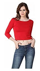 Brand Me Up Women's Top (BMU-TP59R--S, Red, Small)