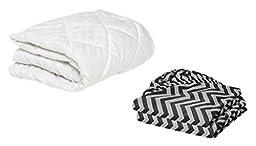 BKB Cradle Mattress Protector and 2 Chevron Sheets Combo, Black, 18 x 36\