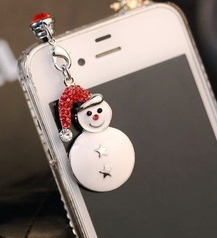 CJB Dust Plug / Earphone Jack Accessory Lovely Cute Snowman Rhinestone Seasons Greetingfor iPhone 4 4s S4 5 All Device with 3.5mm Jack (US Seller)
