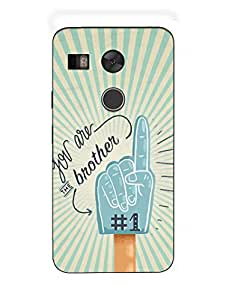 No 1 Brother - Rakshabandhan - Typography - Hard Back Case Cover for Nexus 5X - Superior Matte Finish - HD Printed Cases and Covers