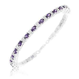 Bracelet - Femme - Argent 925/1000 - 12.2 Gr - Améthyste - Oxyde de zirconium