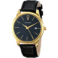 Azzaro AZ2040.62BB.000 'Legend' Leather Strap Goldtone Men's Watch (Black)