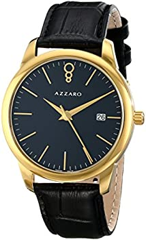 Azzaro 'Legend' Leather Strap Goldtone Men's Watch