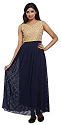 Carrel Imported Georgette Fabric Navy Blue Colour Free Size Women Polka Dot Embroidery Maxi Dress