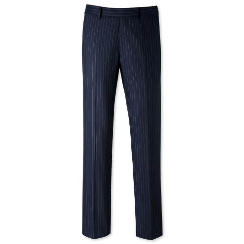 Charles Tyrwhitt Blue pinstripe tailored fit suit trouser (36W x 38L Unfinished)