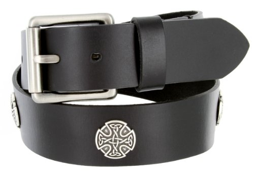 Mens Genuine One Piece Leather Smooth Black Casual Belt with Roller Buckle and Celtic Cross Conchos (36 Black)