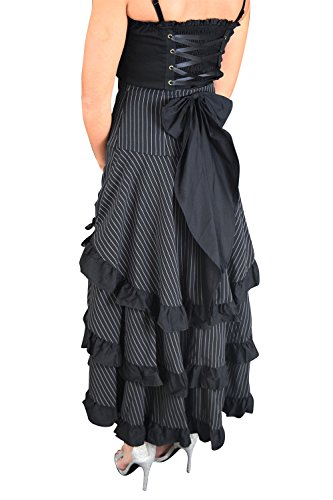 Gothic-Victorian-Steampunk-Black-Pinstriped-Tiered-Tail-Long-Stripe-Bustle-Skirt