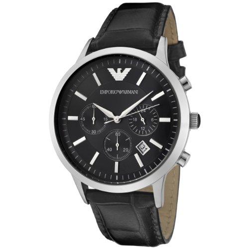 Emporio Armani Men'S Ar2447 Chronograph Black Dial Black Leather Watch