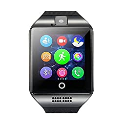 AmanStino Wireless Smartwatch with Camera Original Q18 TF/SIM Card Slot for Android Samsung Galaxy/Note and iphone iOs(partial Functions)Black