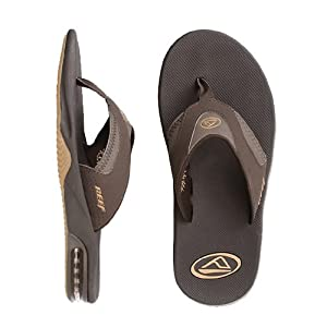Reef Men's Fanning Bottle Opener Sandals, Color: Brown/Gum, Size: 15