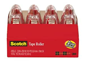 Scotch® Adhesive Tape Roller 6051-4, 0.33 inch x 393 Inches