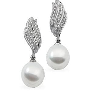 IceCarats Designer Jewelry South Sea Cultured Pearl And Diamond Earring 18K Palladium White Gold