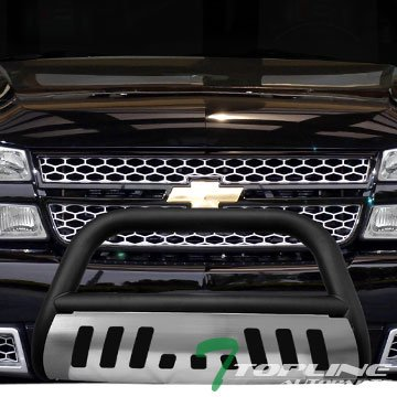 Topline Autopart Matte Black Bull Bar Bumper Grill Grille Guard w/ SS Skid Plate 99-06 Chevy Silverado Sierra 1500 (Brush Guard For Chevy Silverado compare prices)