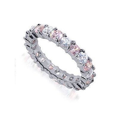 Nickel Free Sterling Silver Pink and Clear Cubic Zirconia Prong Set Polished Finish Rhodium Plated Eternity Band Ring Size 7