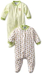 Gerber Unisex-Baby  2 Pack Sleep N Play Snap Front Bears, Green/White, 0-3 Months