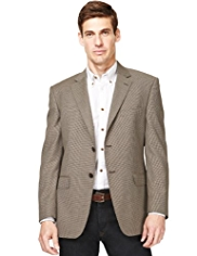 Wool Rich 2 Button Mini Checked Blazer